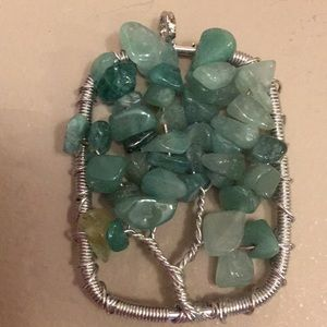 Tree of life.. wrapped pendant, Jade stones
